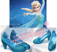 Wholesale 2014 New Arrival Hot Sell Europe Frozen Elsa Fashion Women Children Girls Fashion Party Shoes Cosplay Handmade Shoes Customized E0286
