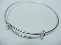 Wholesale 65mm diameter silver plated simple wiring bracelet for beading or charms expandable bangles