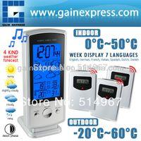 Kitchen Infrared Thermometer Temperature Sensor Indoor Outdoor Humidity Temperature Centigrade Fahrenheit Wireless Weather Forecast RCC DCF Station Clock Calendar + 3 Sensors