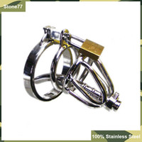 Male Catheters & Sounds  HOT Latest Small-Size Male 100% stainless steel Cock Cage Chastity Art Device with thick Catheter and non-slip ring Cock ring BDSM Sex Stoys