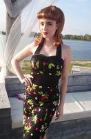 Wholesale 2014 Women s Dresses Vintage red cherry black dress Sexy tube top bodycon dress plus size XS S M L XL