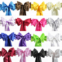 Wholesale Wedding Party Banquet x108inch Satin Chair Cover Sash Bow Decoration