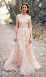 Cheap Vintage Deep V Cap Sleeves Pink Lace Applique Tulle Sheer Wedding Dresses A Line Reem Acra Latest Blush Wedding Bridal Dress Gown