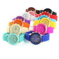Wholesale 2pcs New Shadow Style Geneva Watch Rubber Candy Jelly Fashion Men Wamen Silicone Quartz Watches Silicone Watchband quartz watch