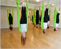 Yoga Stripes   Wholesale 50Pcs Lot 2014 high quality Flying Yoga Hammock Swing Trapeze Anti-Gravity Inversion Aerial Traction Devices