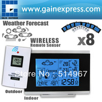 Kitchen Infrared Thermometer Household 8 pieces x Wireless Digital Weather Station Indoor Outdoor Temperature Humidity Remote Sensor Date Radio Controlled Clock DST