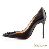 Cheap New Woman Shoes Black Rivets Pointed Toe Stiletto Heel Cowhide Leather Shallow Mouth Sexy Shoes Euramerican Style Cheap High Shoes Heel 12cm