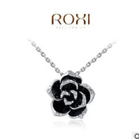 Pendant Necklaces Europe and America Women's ROXI Black roses Diamond Jewelry Fashion Flower Necklaces For Women 2014 Plated With Crystal Necklace Pendants Statement Necklace Huf