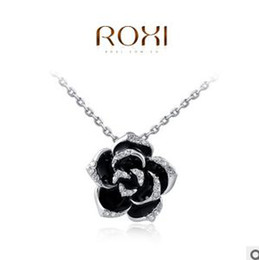 Wholesale ROXI Black roses Diamond Jewelry Fashion Flower Necklaces For Women Plated With Crystal Necklace Pendants Statement Necklace Huf