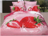 Polyester / Cotton Knitted Home Free Shipping,Reactive Printing Oil Painting 3D Strawberries 4pcs Full Queen Bedding Set,Quilt Cover+Sheet+Pillowcase Wedding Beddingset
