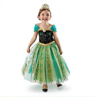 TuTu Summer A-Line Wholesale Frozen Princess short Sleeve Dress Children Baby Girl party princess Birthday lace Tutu Dresses + crown LY-346-33