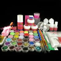 acrylic nail forms - Full Acrylic Powder Liquid Sticker Forms Glitter Sheets Rhinestones Primer Cuticle Oil Brush Nail Art Kits Set N010