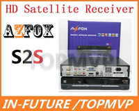 Wholesale Hot Sale New Arrival Digital Satellite Receivers MPEG MPEG4 H amp Fully DVB S2 AZFOX S2S TV Box Set Top Box Azbox DHL Freeshipping