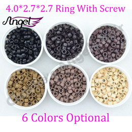 Wholesale Hot bottle mm mm mm Aluminium microring bead inside Screw tools for Hair Extension Black Blonde Brown ect Colors Optional
