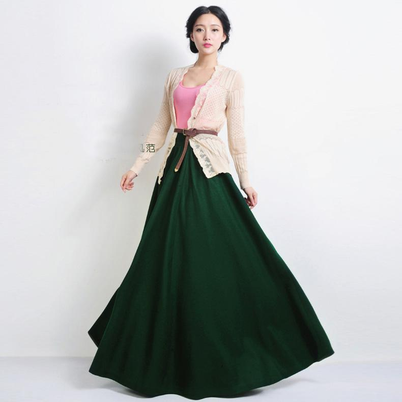 Winter Casual Fashion Vintage Warm Wool Womens Long Skirts Woolen ...