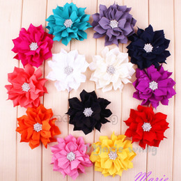 Wholesale quot Fabric lotus flowers with crystal rhinestone center flat back accessories for garment hair band Bow Clip