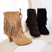 Wholesale 2014 women plus Big size US New Arrived Pointed Toe high heels Slip On Tassel Faux suede boots pumps black yellow shoes