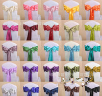 Wholesale New Arrive Wedding Party Banquet x108inch Satin Chair Cover Sash Bow Decoration