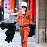 Cheap 2014 Women's autumn fashion double zipper hooded cardigan casual loose 100% cotton solid color suits free shipping