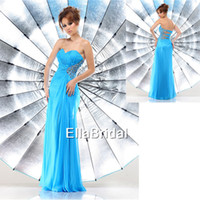 Reference Images Sweetheart Chiffon New Arrival Empire Aqua Chiffon Prom Dress Hollow Back Sweetheart Sleeveless Crystal Occasion Dresses Party 71295
