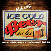 Cheap [ Mike86 ] ICE COLD BEER TOP Drink Metal Signs Gift PUB Wall art Painting Poster Bar Decor AA-123 Mix order 20*30 CM