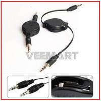 Wholesale x Retractable Extension Audio Jack Plug Cable Cord mm For IPOD MP3 CAR AUX M M Black