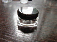 Wholesale g clear square cream jar black cosmetic container plastic bottle sample jar display case