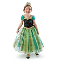 Wholesale Frozen Princess Elsa anna short Sleeve Dress Children Baby Girl party princess Birthday lace Tutu Dresses LY