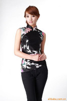 Wholesale new sale chinese traditional clothing cheongsam top woman bird print blouses cheongsam top color JY036