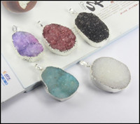 Wholesale 5pcs Silver plated Quartz Crystal Nature Druzy Drusy stone beads gem stone pendant Beads in color Jewelry findings