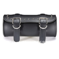 Wholesale New Black Motorcycle Scooter Tool Pouch Luggage Saddle Handle Bar Bag Round Barrel Storage