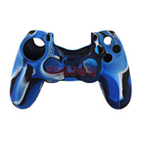 Wholesale Soft Silicone Camouflage Skin Case Cover for Sony PlayStation PS4 Controller Blue Black amp White