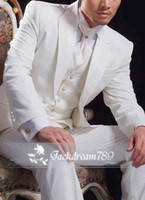 Wool Blend Reference Images One Button 2014 Ivory mens white wedding suits made One Button wedding suits for men Groom Groomsmen Tuxedos Groomsmen Suits mens wedding suits
