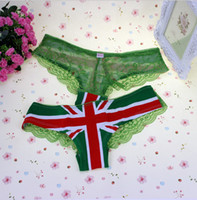 Wholesale 2014 Sexy lace women s low waist briefs The British flag girl pure cotton underwear