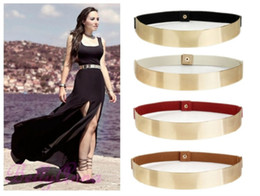 Elastic Mirror Metal Waist Belt Leather Metallic Bling Gold Plate Wide Obi Band Free Shipping Wholesale