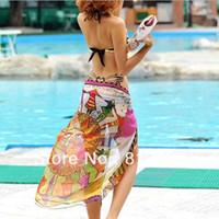 Wholesale Egypt Fahion Women Lady bikini Veil Colorful Sarong Hawaii Beach Swimwear Chiffon silk Scarf Dress Swimsuit E0443