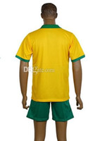Wholesale Australia World Cup Home Yellow Soccer Jersey Football Sets Equipment Soccer Jersey With Shorts Jersey And Pants