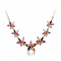 Pendant Necklaces Women's Fashion Beautiful 18K Rose Gold Plated Pendant Neckalces Marquise Cut Colorful Swiss Cubic Zirconia Diamond Flower Necklace CNL0003-C