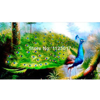 Wholesale DIY handmade diamond painting with embroidery kits for home decoration Craft gifts cross stitch kits with striped fabric Peacock