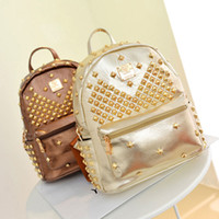 Wholesale Korea MCM purchasing rivet shoulder bag Korean fashion wave of men and women EXO star student bag backpack handbag