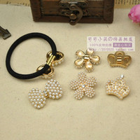 Pins & Needles Jewelry Findings Metal Rubber band Buckle Pearl Round Bow Decoration Alloy Embellishment DIY Hair Accessory