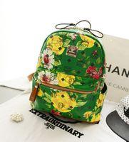 Wholesale MCM rivet shoulder bag Korean Shopping EXO star burst models floral painting medium school bag backpack schoolbag