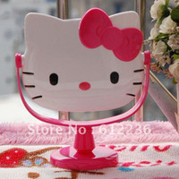 Wholesale Make up Mirror for girls Hello Kitty Face Shape lovely cute PINK Table Mirror Multi Use Home Use Decoration dropship