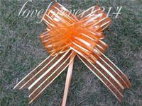 Laminated Apparel Yes 50Pieces lot,5cm Orange Organza Pull Bows Wedding Car Decor Holiday Pull Flower Ribbons Wedding Bridal Favor Supplies