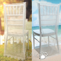 Wholesale LiNg s Sheer Organza Chair Cover with Embroidery Wedding Party Chiavari Slipcover Decor