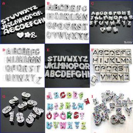 Wholesale 8mm Vogue Rhinestones Silver Tone Alloy Initial Letter Beads DIY Slider Numbers Charms Can Pick Letters