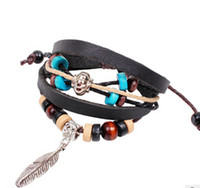 Slap & Snap Bracelets Unisex Fashion 2014 Wholesale European Style Bangles Alloy Feather Wooden Beads Adjustable Wax Cord Leather Bracelets B83