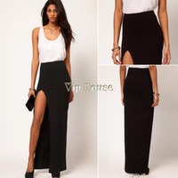 Chiffon Above Knee Women 2014 New Fashion Women's Sexy High Waist Side Split Slim Maxi Skirts Ladies Full Length Long Skirt Plus size 19041