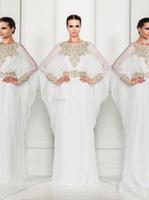 Cheap Hot sale 2014 New sexy Arabic Dubai ABAYA KAFTAN white Arrival Zuhair Murad Muslim Dress Poet Long Sleeve With Beaded Evening Dresses