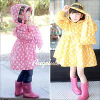 Nylon Yes Girls Wholesale-407-2014 New Arrived Samll Princess Rain Coat Sweet Polka Dot Manteau Girls Kids Raincoats With Storage Bag